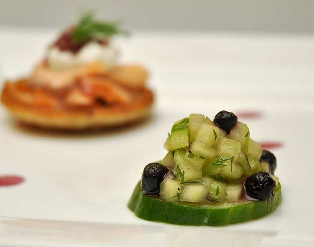 "... Blueberry Blinis with Smoked Salmon ""Caviar"" and Cucumber Salad"